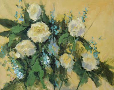 """Impressionist Floral Painting, """"White Roses"""" by Colorado Artist Susan Fowler"""