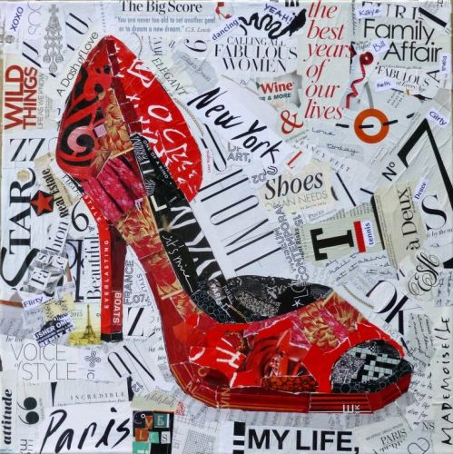 My Life: Yeah! Torn Paper Collage, High Heel Shoe by Texas Artist Nancy Standlee