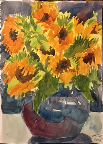 """Day 258 """"Bouquet"""" watercolor 12 x 9"""