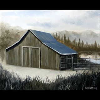 Mark Webster - Mountain Barn Grayscale Landscape Oil Painting