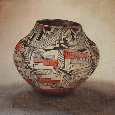 "Still Life Native American Pot, Fine Art ""ACOMA OLLA- NATIVE AMERICAN POT"" by Painter of the American West Nancee Jean Busse"