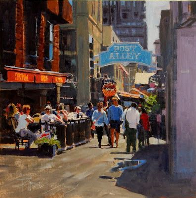 """""""Post Alley"""" Seattle city, oil painting by Robin Weiss"""