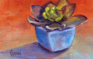 Succulent, 4x5 Daily Painting, Oil Painting on Canvas