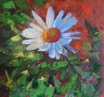 Flower Painting, Daisy Painting, Small Oil Painting, Daily Painting, Palette Knife Painting, 12x12x1.5