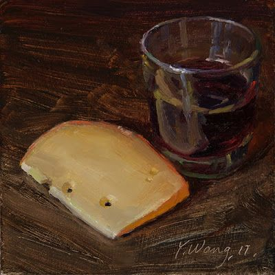 Cheese and wine original oil painting a day