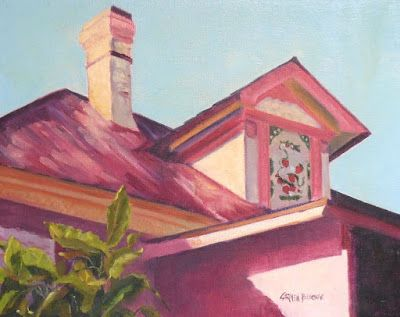 Strawberry Mansion, 8x10 Original Oil Painting on Canvas Panel