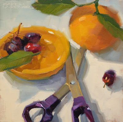 Orange, Grapes, Scissors