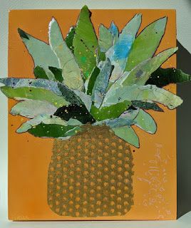 "Paper Sculpture, Collage ""PAPER PINEAPPLE"