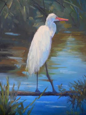 Florida Wildlife Egret Oil Painting, Daily Painting, Small Oil Painting