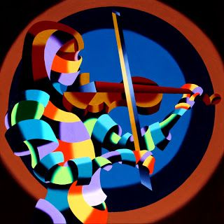 Mark Webster - The Violinist - Abstract Geometric Futurist Figurative Painting