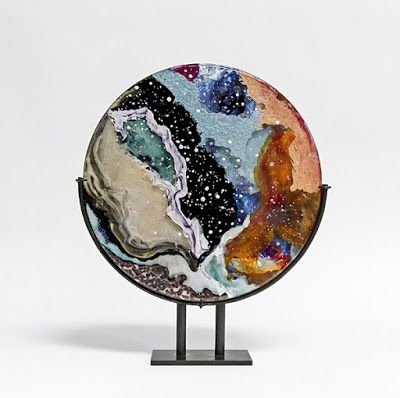 "Fine Art Free Standing Round Sculpture, Resin, Steel, Cast Acrylic ""Cosmic Dreams"" by Santa Fe Artist Sandra Duran Wilson"