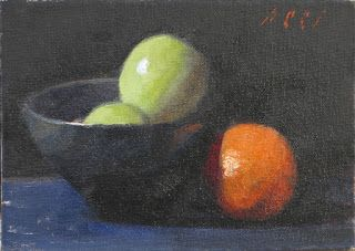 Original still life with apples and orange
