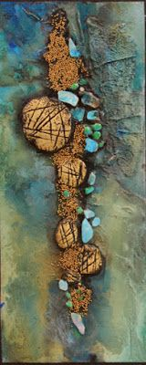 "Mixed media geologic abstract, ""Sediment"" © Carol Nelson Fine Art"
