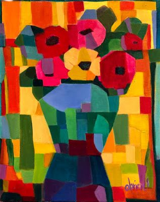 """Contemporary Expressionist Still Life Art,Bold Expressive Painting """"Fall Fiesta"""" by Santa Fe Artist Annie O'Brien Gonzales"""