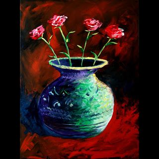 Mark Webster - Roses in Vase Acrylic Painting 40x30