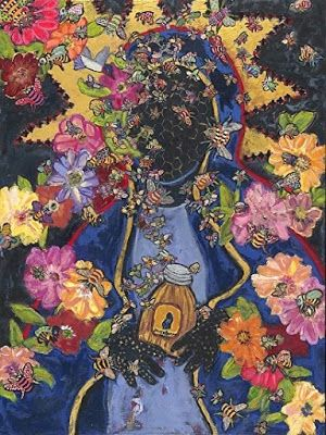 "Abstract , Folk Art, Narrative Art Painting, Portrait ""Black Madonna Honey"