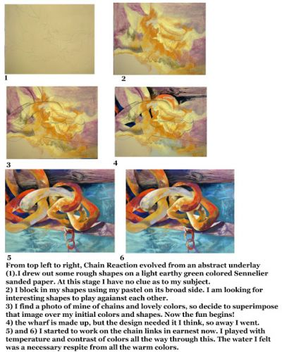 Chain Reaction..Step by Step.Pastel..Texas Artist..Rae Andrews