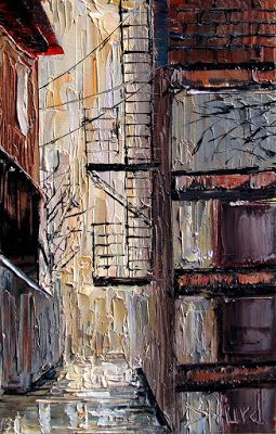 "Cityscape Street Scene painting Alley paintings texture art ""Fire Escape"" by Debra Hurd"