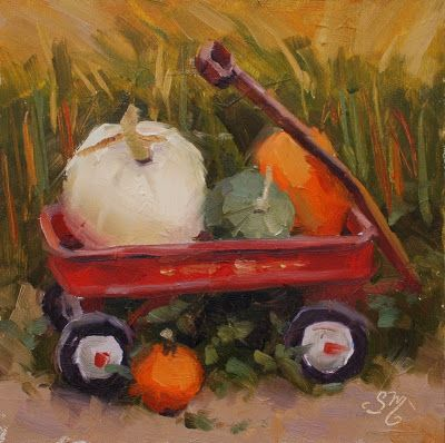 No. 815 Bailey's Little Red Wagon with Pumpkins - Plein Air