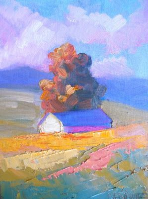 Fall Landscape, Daily Painting, Small Oil Painting, One Last Autumn Painting, 6x8