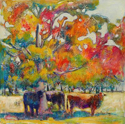 """Contemporary Landscape Painting,Cows,Pasture, Mixed Media, Water, Trees, Fine Art For Sale, """"When Two or More Gather"""" By Passionate Purposeful Painter Holly Hunter Berry"""