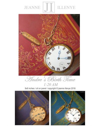 Howard fob watch on gilded leather book series of family portrait birth times