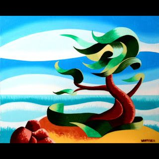 Mark Webster - Abstract Geometric Landscape Oil Painting - Cypress Tree Seascape 3