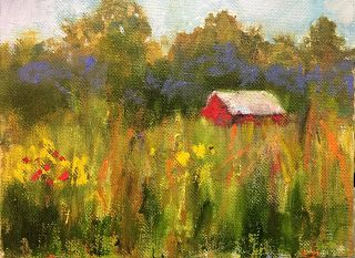 Little Cabin in the Woods 2, Impressionist Miniature Landscape