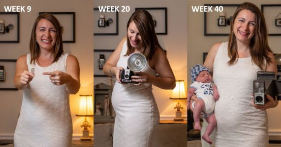 These Baby Bump Photos Use Camera Gear for Size Comparisons