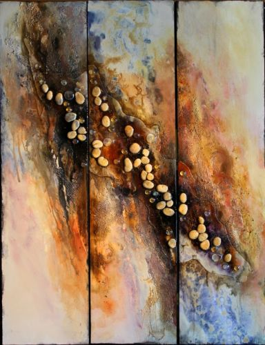 "Mixed Media Geologic Abstract Painting ""Arroyo"" by Carol Nelson Fine Art"