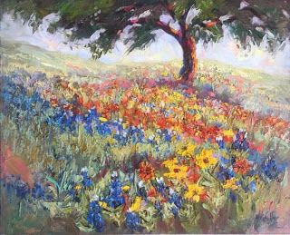 """New """"Waves of Wildflowers III"""" Texas Hill Country Oil Painting by Niki Gulley"""