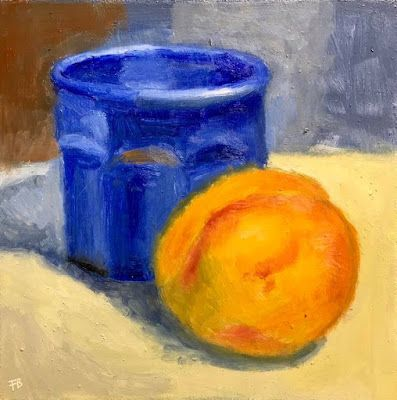 339 Blue Glass still life painting of a ripe peach with a beautiful blue glass by Fred Bell