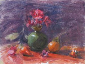 Still life with a green vase and tangerine