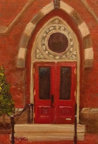 "Architectural Fine Art Painting,Red Door ""A Yale Church"" by Florida Impressionism Artist Annie St Martin"