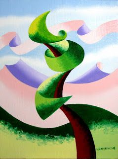 Mark Webster - Abstract Geometric Landscape Oil Painting 4.4.14