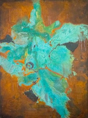 """Contemporary Art, Patinas, Abstract Painting """"Eruption"""" by Contemporary Arizona Artist Pat Stacy"""