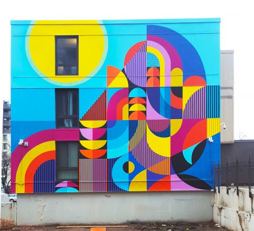 Textiles and Boards Games Inspire Large-Scale Murals that Span Sidewalks, Streets, and Staircases