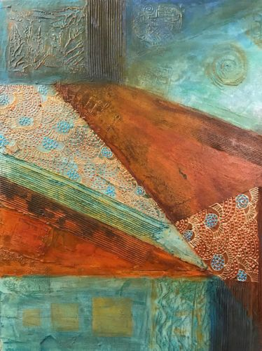 "Contemporary Southwest Art, Abstract Mixed Media Painting, Patinas ""Mountain"" by Arizona Contemporary Artist Pat Stacy"