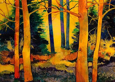 "FINE ART PRINT, Landscape Aspen Tree Art ""Sunny Day"" by Colorado Mixed Media Abstract Artist Carol Nelson"