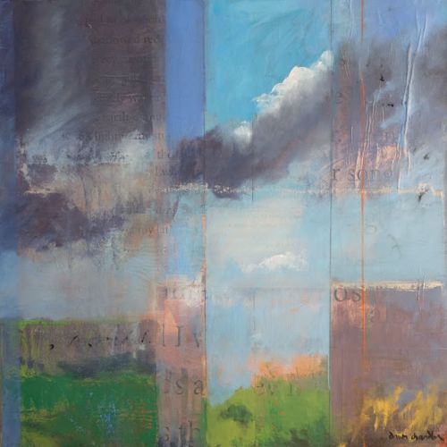 Contemporary mixed media new mexico landscape 'high desert song, i' by dawn chandler