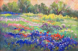 "New ""April's Palette III"" Bluebonnet Painting by Texas Artist Niki Gulley"