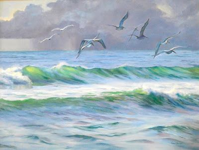 Storm's Coming, Original Oil Painting 30x40 Seascape with Birds
