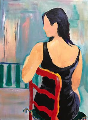 """Abstract Figurative Painting,Fine Art Painting,Red Chair """"Lady in Red Chair"""" by Oklahoma Artist Nancy Junkin"""