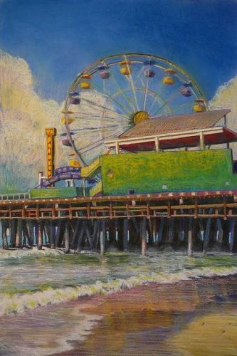 Ferris Wheel Pastel - Spin - and saving a failed watercolor with pastel