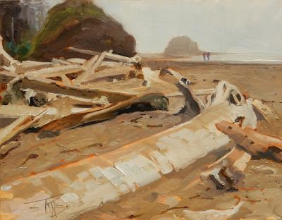 """""""Sand and Surf"""" Paint the Peninsula 2018, plein air landscape by Robin Weiss"""