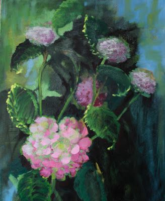 "Still Life Floral Painting, Fine Art Oil Painting ""Hydrangeas"" by Colorado Artist Susan Fowler"