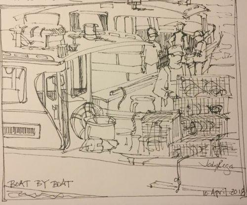 """Day 192 """"Boat by Boat"""" pen and ink 7 x 7"""