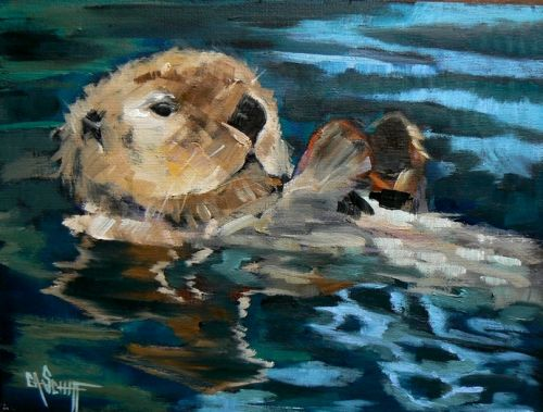 Wildlife Print, Otter Print, Otter Painting, Daily Painting, Small Oil Painting