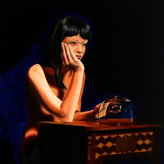 Mark Webster - Mandy with Glass Bowl Figurative Oil Painting