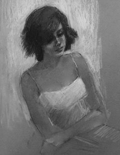 Kitty's White Sundress - charcoal and white pencil figurative drawing